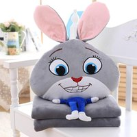 air condition used - Zootopia cushion blankets Crazy animal City Plush Air conditioning blanket cartoon pillows Nick Wilde Judy Hopps cute pillow use cars