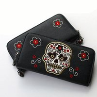 skull purses - Fashion Vintage Skull Wallet Purse Women Embroidered Skull Head Flower Famous Brand Designer Clutch Wallets Purses Skull Diamond Zipper