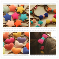 Wholesale Style Hair For Girl - New Korea Hair Accessories Hairbands Cloth Star Love Style Hair Rope Elastic Ribbon for Baby Big Girl Children Accessory 50pcs lot