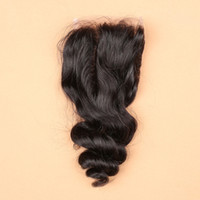Wholesale DHL Free Ship Virgin Hair Lace Closure Loose Wave Human Hair Closure x4 Free Middle Way Part Available Loose Wave Hair
