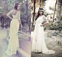 gypsy wedding dresses - Gypsy Brides Wedding Dress A Line sleeve Lace Wedding Dress Jewel Charming Bridal Gowns Backlesss With Sash Wedding Dress Z2047