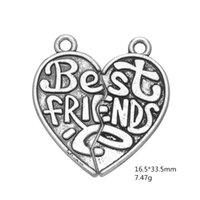 antique puzzle - My Shape Best Friends Puzzle Piece Heart Charms Zinc Alloy Antique Silver Plated DIY Finding For Neckalces and Bracelets