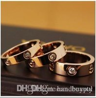 Wholesale Fashion accessories Jewelry Unisex Titanium Steel Stainless Zircon Screw Ring Crystal Rhinestone Lovers Rings RJ618 dd