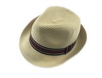 achat en gros de jeunes femmes chapeaux mode-Ame Young Fashion Hommes Femmes Panama chapeaux de soleil d'été Contraste Couleur paille Ruban Pinched Couronne Rolled Garniture Floppy Hat chapeaux de plage