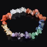 Precio de Chip stone bracelet-Bohemia 7 chakra curación pulsera de piedra natural pulseras elásticas chip Amethyst lapislázuli ágata pulsera de cristal para la joyería de las mujeres
