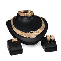 belt ring jewelry - hot sale new designer exaggerated fashion diamond crystal belt Necklace Earring bracelet ring golden jewelry set
