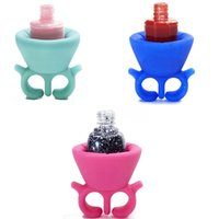 Wholesale Soft Silicone Finger Wearable Nail Gel Polish Bottle Holder with ring Nail Art Tools Polish Varnish Bottle Display Stand Holder Free Ship