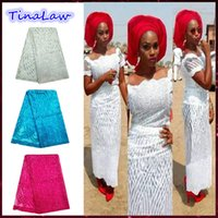Wholesale 2016 nigerian lace fabrics high quality with sequin fabric hot sales african lace fabric for african woman dresses nigerian lace China