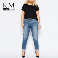 Wholesale Kissmilk Plus Size New Fashion Women Big Size Denim Style Big Size Hole Ripped Casual Skinny Pants XL XL XL XL