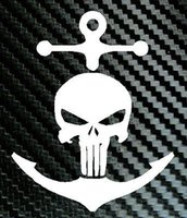 anchoring tips - ANCHOR Punisher Skull Navy Sailor Car Truck Laptop Boat Decal Vinyl Sticker decal reflective silver