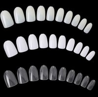 acrylic oval - 600Pcs Clear and Natural Oval French False Acrylic Full Cover Oval Shaped Nail Art UV Gel Tips Short Size Fake Nail Tips