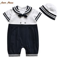 baby marines - Auro Mesa Baby Rompers Fashion Short Sleeve Sailor Style Infant One Piece Bodysuits High Quality Marine Kids Shorties with Hat