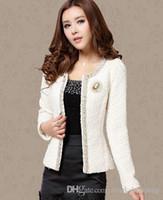 Wholesale Autumn women s cute princess black white color block tweed woolen short coat lace beading gem sequined lurex long sleeve jacket