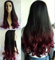 Cheap Natural black Wine red synthetic hair prodcuts hot sale Fashional Long wavy wig two tones not full lace front wigs ombre wigs women