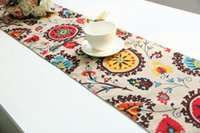 Wholesale Mediterranean Style Cotton Linen Table Table Runner Mat Customize Size Accepted Table Cloth Support Drop Shipping