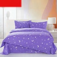 Wholesale Purple Stars Moon Printing Bedding Set Fashion Bed Sheet Duvet Cover Pillowcase Set Gift Summer Comforter Bedding Sets