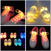Cheap Wholesale free shipping Party Skating Charming LED Flash Light Up Glow Shoelaces Shoe Laces Shoestrings