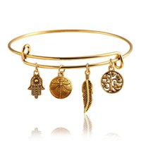Wholesale Newest Gold Alex And Ani Dragonfly Vintage LOVE Heart Bangle Alloy Trendy Anchor Summer Style Leaf Bangles Best Friends Pendant Fine Jewelry