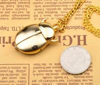 beetle watch - golden beetle quartz pocket watch necklace Hollow out skeleton chain pendant clock gift