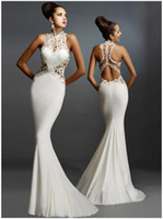 Wholesale Weddings Events Special Occasion Dresses Tuxedo Sleeveless Backless Decal Stitching Sexy Slim Bandage Backpack Fishtail Lace Bress Q046