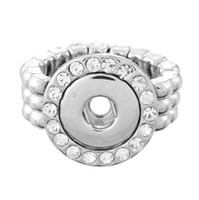 Wholesale 20 Clear Crystals silver color Stretch SNAP Ring fit mm snap button