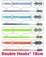 100pcs / pack, двойные крюки, крюк кальмара jigs, белый кристалл, ясный, светло-голубой, светло-зеленый, оранжевый, приманка для приманки, UV keimura, 18 см, 0,8 мм, Япония