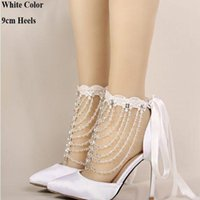 Wholesale Satin White Dress Sandals - In the summer of 2016 high heels the bride shoes white satin crystal wrist strap sandals women banquet wedding shoes pointed handmade shoes