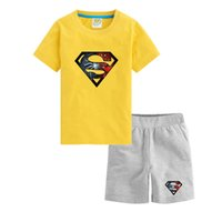 baby sports bottle - Multi colors summer baby clothes spider superman children clothes sets T shirts shorts grade school students sports outdoor