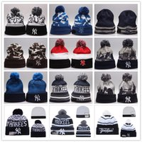 beaches new york - 15 Colors New York Yankees Beanies Winter Warm Cuffed Pom Beanie Jays Beanies Skullies Embroidered Baseball Team logo NY Knit Wool Hat