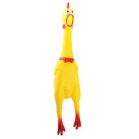 Wholesale 16CM Funny Yellow Shrilling Chicken Screaming Rubbe Sound Squeeze Pet Dog Toy Squeak Squeaker Chew Doll Gift