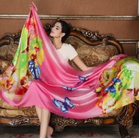 Wholesale Shanghai story sunscreen shawl long section of wild ladies silk satin chiffon scarves scarves beach towel Spring