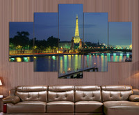 Cheap Eiffel Tower 5 Panel Modern Wall Art Home Decoration Living Room Special hot European painting pictures print on canvas