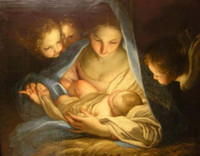 angels madonnas - Holly Night Madonna Mary with child angels Pure Handcrafts Art oil painting On High Quality Canvas Home Wall Decor in custom sizes