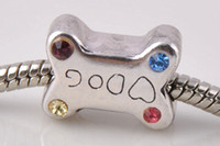 Sports animal metal plates - big hole beads sterling silver plated antique silver Suitable for European charm bead dog bones bracelet jewelry DIY style