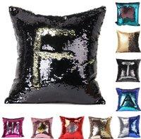Wholesale Sequin Glitter Pillow Case cover Mermaid Pillow Cover Double Reversible Sequin Magic Swipe Cushion Pillow Cover Home Sofa Décor kka402