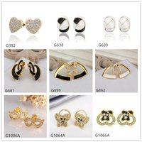 balls goggles - Hot sale mixed style women s crystal gemstone k yellow gold earring pairs a striangle ball Goggles yellow gold stud earrings EMG64