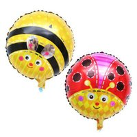 airs bee - Red Yellow inch Bees Beatles Party Foil Ballions Children Birthday Rounded Air Balloon Decorations Kids Toy Gift Balloon