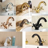 Wholesale Dual Handle bathroom basin sink faucet type swan style Mixer tap Solid Brass construction taps