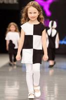 american grid - 2016 BABY Girl Summer grid dress Kids Black white Plaid dress Short sleeve toddler dressy street dress