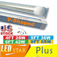 Wholesale V Shaped ft ft ft ft Cooler Door Led Tubes T8 Integrated Led Tubes Double Sides SMD2835 Led Fluorescent Lights V Stock In US