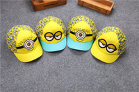 achat en gros de tricot jaune bonnet-2016 nouveau petit chapeau jaune homme printemps et été casquette de baseball enfants garçons et filles coton gros chapeau de bonneterie Crochet chapeaux en gros