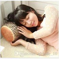 Wholesale 50pcs CCA2189 Novelty Pillows Green wood log pillow bed linen cushion kids long travel sleep tree stump wood like pillow and cushion