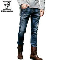 ala blue - ALA MASTER Brand Clothing Warm Men Designer Jeans Homme Pants Mid Waist Straight Type Color Ink Destroyed Jeans