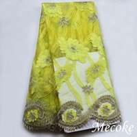 Wholesale French Net Lace Fabric Latest african guipure lace fabric yellow mesh tulle fabric or Voile Guipure cord lace