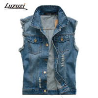 Wholesale Fall Men Summer Denim Vest Sleeveless Wasitcoat Jacket For Male Outwear Jean Vest Coat Clothing YY519