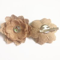 Cheap 2016 Jute Burlap Handmade Diamond Flower Hair Clip Barrette Vintage Hessian Rose Hairpin Wedding Brooch Hair Accessories Festival decorate