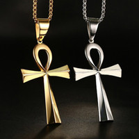 Asian & East Indian ankh necklace - Unisex Stainless Steel Necklace Vintage the Key of the Nile Egyptian Ankh Cross