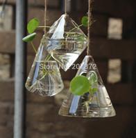 Wholesale 3pcs set Original geometric transparent glass hanging vase Water Drop Plant Vase Home Garden Decoration