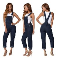 bib overall buckles - Women Denim Overall Bodycon Jumpsuit Buckles Sides Long Pants Outfit Fashion Autumn Winter Denim Bib Pants Jumpsuits OS051
