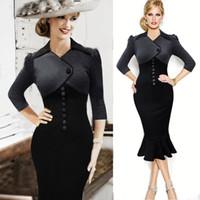 Wholesale New Autumn Women Patchwork Fishtail Dress Button Design Three quarter Sleeve Bodycon Dress Women Elegant Black OL Dresses